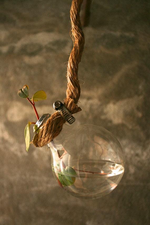 Shabby Chic Decor Hanging Lightbulb Vase Glass Vase Cottage Style - Rustic Rope Design