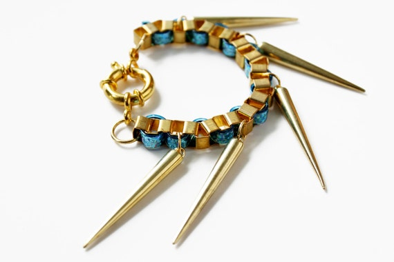 Iceis, chunky spikes bracelet, long spikes punk unisex jewelry, hip hop statement bracelet- GOLD combo