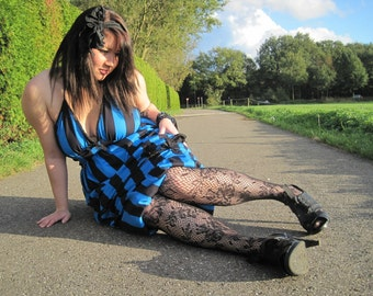 Circus Noir -  Amazon Halter Dress in Bold Blue and Black Stripes - Plus Size - Extra Large - SALE