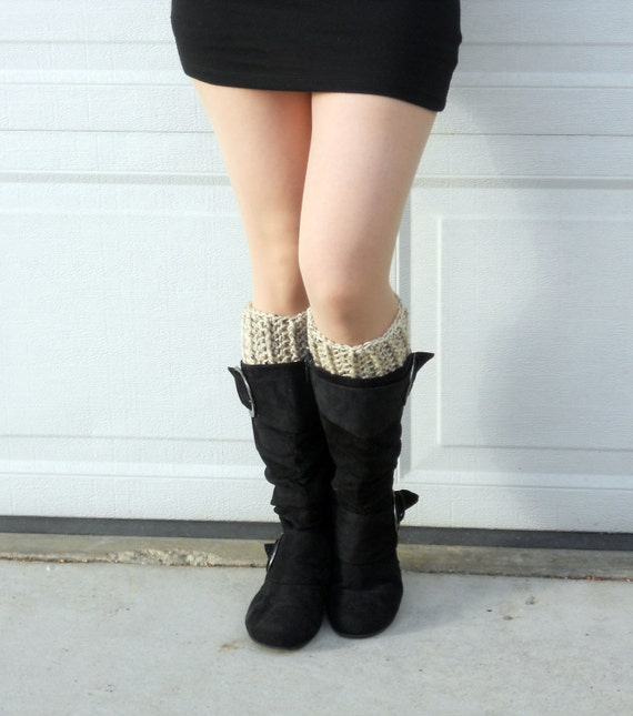 crochet boot cuffs, boot socks in speckled sand