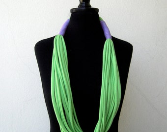 The tribal necklace - handmade in lime green and lilac jersey fabric