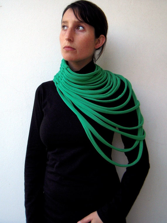 PADAUNG hand woven scarf and necklace in apple green jersey fabric