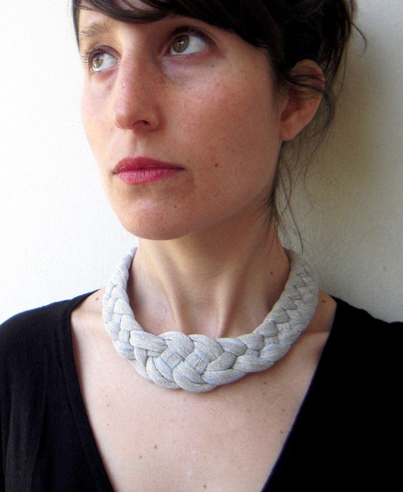 The knot necklace - handmade in grey sparkling jersey fabric