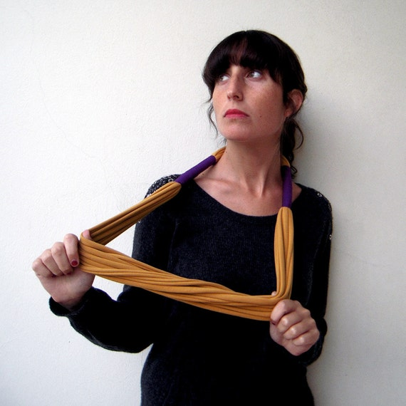 The tribal necklace - handmade in mustard and purple jersey fabric
