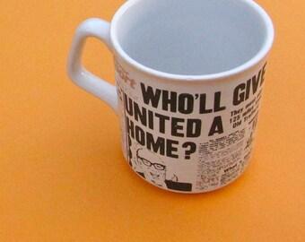 Vintage Mug 1970s British Newspaper Tabloid England UK