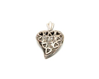 Vintage Heart Charm Filigree Silver Tiny Hearts