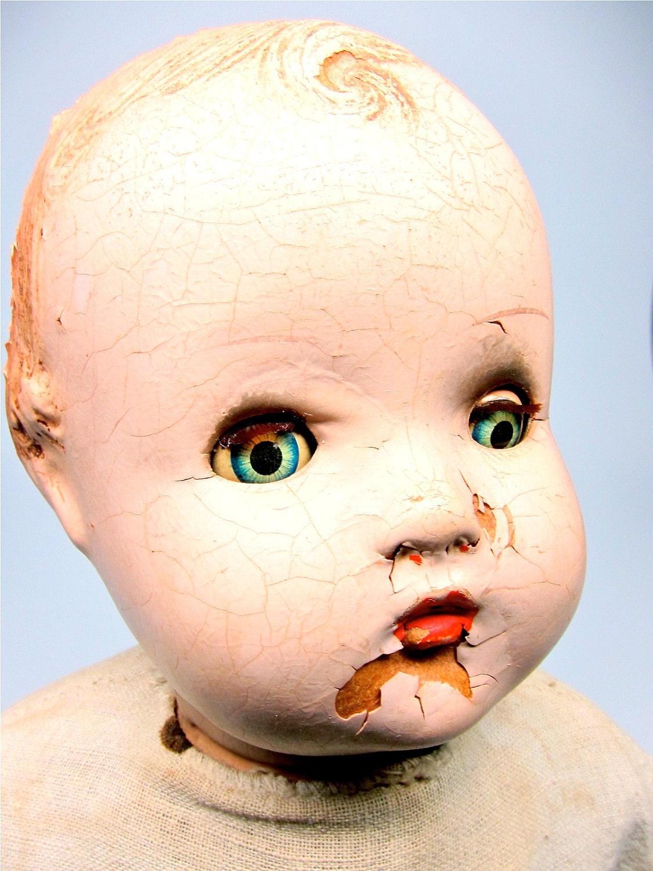 Vintage Creepy Doll Composition Doll Horsman Baby Precious