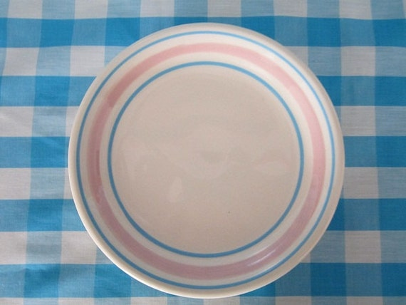 Pink and Blue Dinnerware Plate Mint  McCoy/Lancaster Mid Century Modern Mod