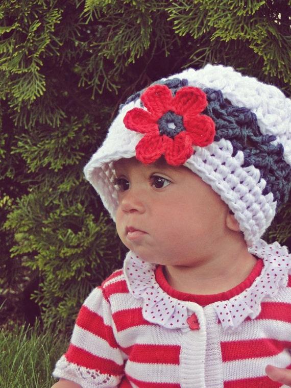 Crochet Baby Hat, kids hat, 4th of July hat, crochet newsboy hat, hat with flower
