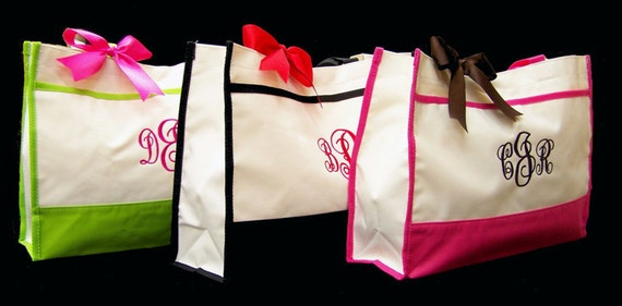 8 Personalized Tote Bag Bridesmaids Wedding Gift Bags