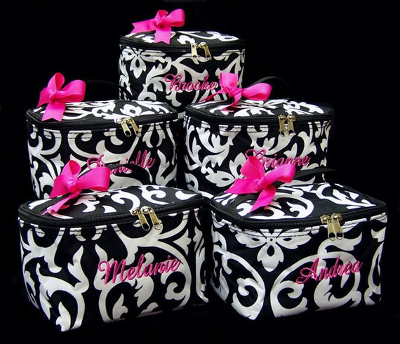 6 Personalized Cosmetic Case Black White Damask