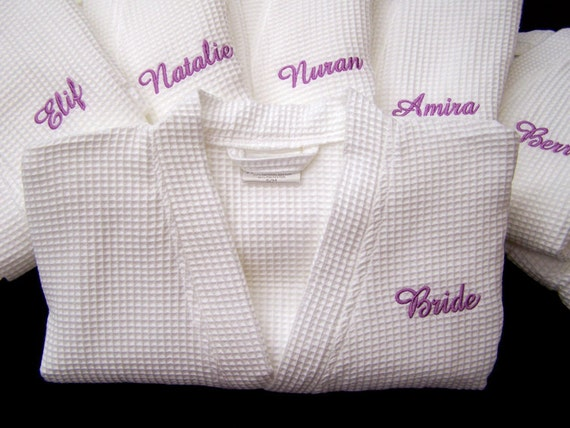5 Kimono Bathrobe Personalized Waffle Weave Bridesmaids