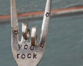 YOU ROCK hand stamped Rock and Roll Fork Garden Art with Stars