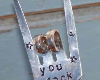 You Rock hand stamped Garden Art Rock and Roll Fingers For your Flower or Herb Pots