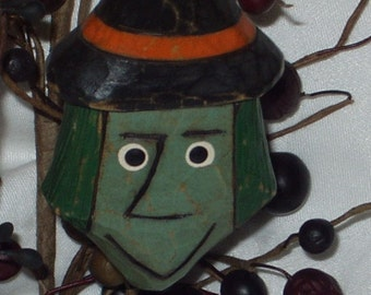 Hand Carved Halloween Ornament - WITCHIE-POO - primitive, basswood