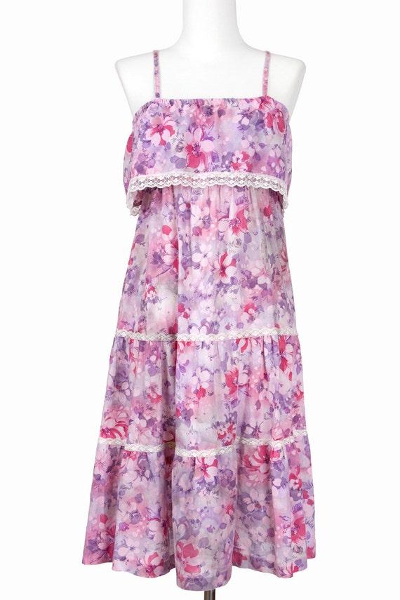 70s Vintage Dress Floral Print Cotton Sundress Purple Pink Small Medium