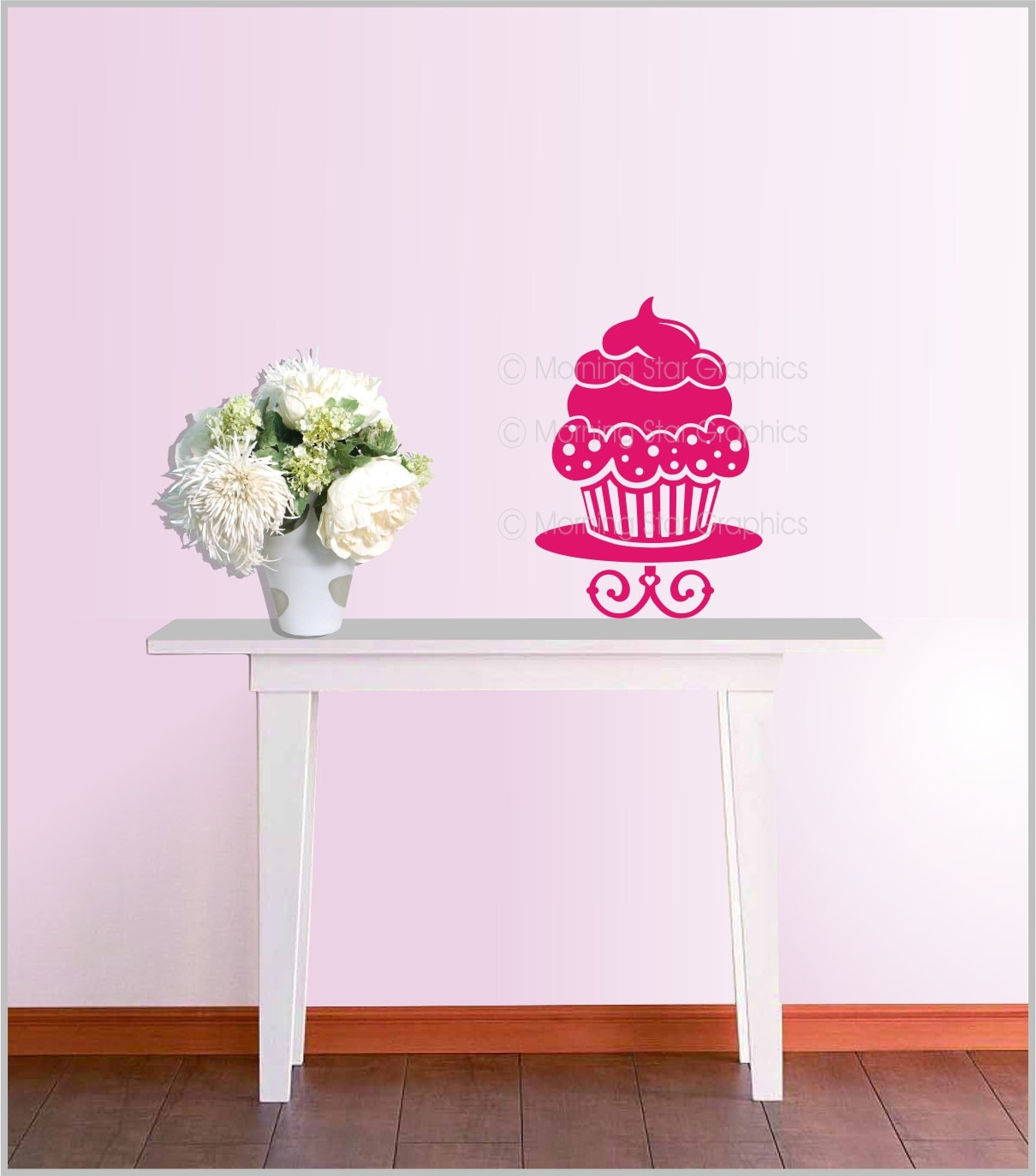 Cupcake vinyl wall decal home kitchen decor by designsplash for Cupcake wall art