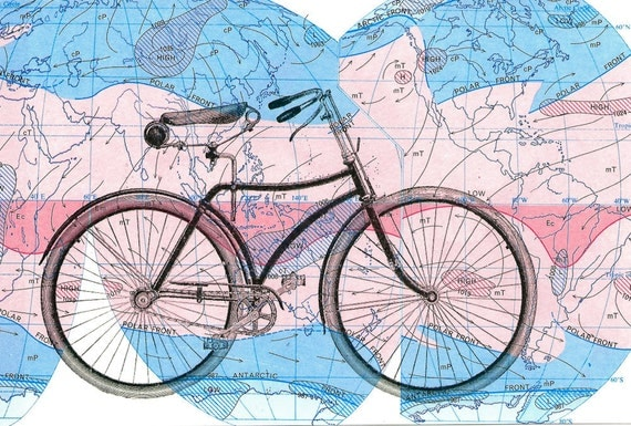 bike map print on world map 4 x 6