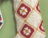Crochet Christmas Granny Square Stocking Vintage Crocheting PDF PATTERN Retro padurns