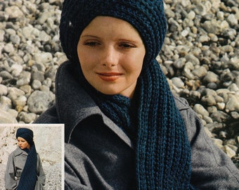 Crochet Scarf and Turban Cap 1970's Vintage Crocheting PDF PATTERN