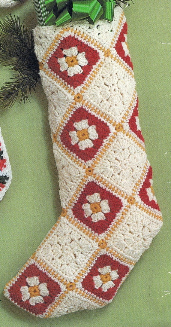 Crochet Christmas Granny Square Stocking Vintage Crocheting