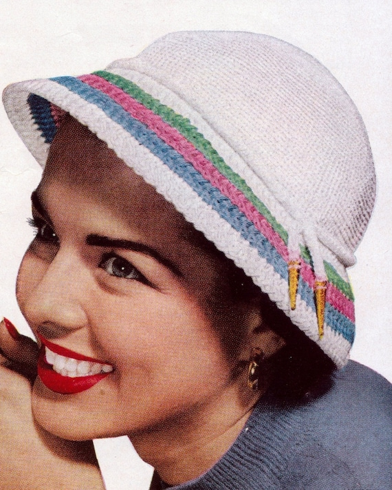 Crochet Womens Candy Striped Hat and Bag 1950's Vintage Crocheting PDF PATTERN - Set of 2 padurns