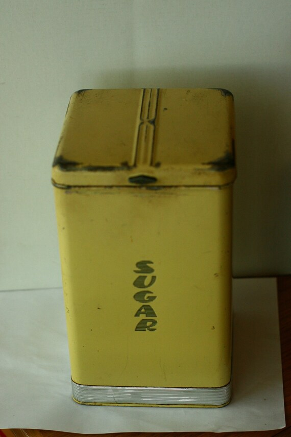 FINAL SALE - Vintage Yellow Sugar Kitchen Tin, Pantry Queen, Yellow Kitchen