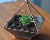 Air Terrarium Kit, pyramid top glass terrarium for hanging or to sit -- copper or silver color -- terrarium supplies -- eco friendly
