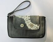 RESERVED: Grey, Mulberry, and Plum Leather and Lace Clutch with Vintage Buttons