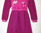 Adorable Pink and Black Checkered Young Girls Dress/ Size 8