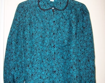 Pretty Teal and Black Womens Vintage Blouse/ Size Medium