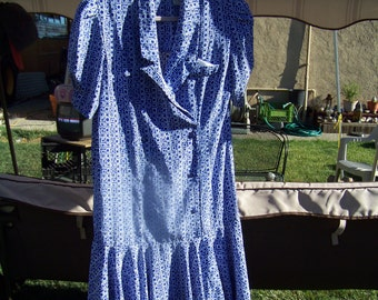 Pretty Blue and White Vintage Dress/  Size 12