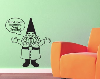 Gnome Vinyl Wall Decal with custom word bubble