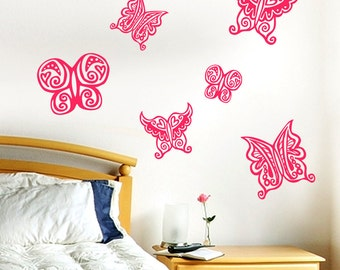 Butterfly vinyl wall decals- one color set of six
