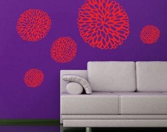 Flower vinyl wall decals- dandelion black eyed susan wildflower