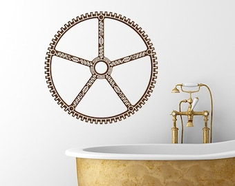 Steampunk Gear vinyl wall decal