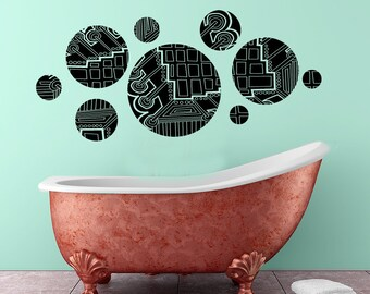Geometric abstrad design Circles vinyl wall decal- multiple sizes