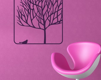 Tree with bird vinyl wall decal