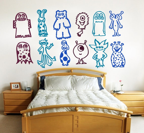 Monsters wall decal LARGE size  - removable multiple Monster decals - steampunk