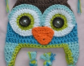 crochet owl hat, crochet boys owl hat, crochet kids hat, crochet baby hat