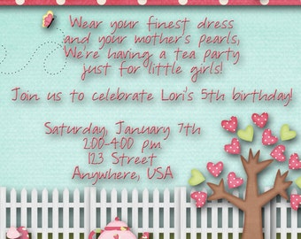 Tea Party Birthday Party Invitation