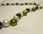 SALE - Freshwater Pearl Necklace with Hematite Beads - Save an additional 20%