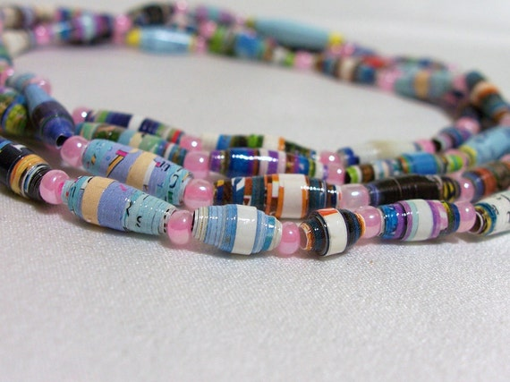 Paper Bead Necklace with Pink Seed Beads