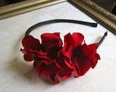 Red Hydrangea Flower Headband. Bridal Headband. Red Hair Accessory. Red Hydrangea Flowers.