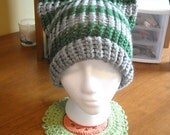 Grey and Green (Slytherin House) Striped Knit Cat Hat - All sizes from Baby to Large Adult - Custom Colors Available
