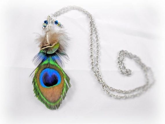 Long Feather Necklace - Peacock Feathers, Chain, Crystal Beads, Wire Wrap - Unique Jewelry for a Unique You