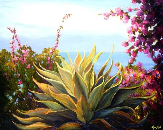 Agave, succulent, succulent prints, agave prints, succulent painting,Blue Agave, Agave painting, Agave plant, succulent plants
