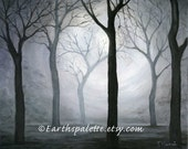 Landscape, Scenic, Oil, 8x10 print from original. Silhouette, tree painting,  home decor earthspalette