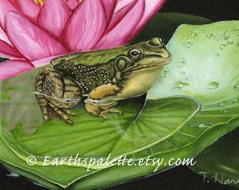 Paintings of frogs  8x10 print from original oil painting wildlife animal painting art earthspalette