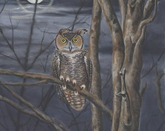 Great Horned Owl painting, 8x10 print from original oil painting bird painting owls home decor night painting wall art earthspalette